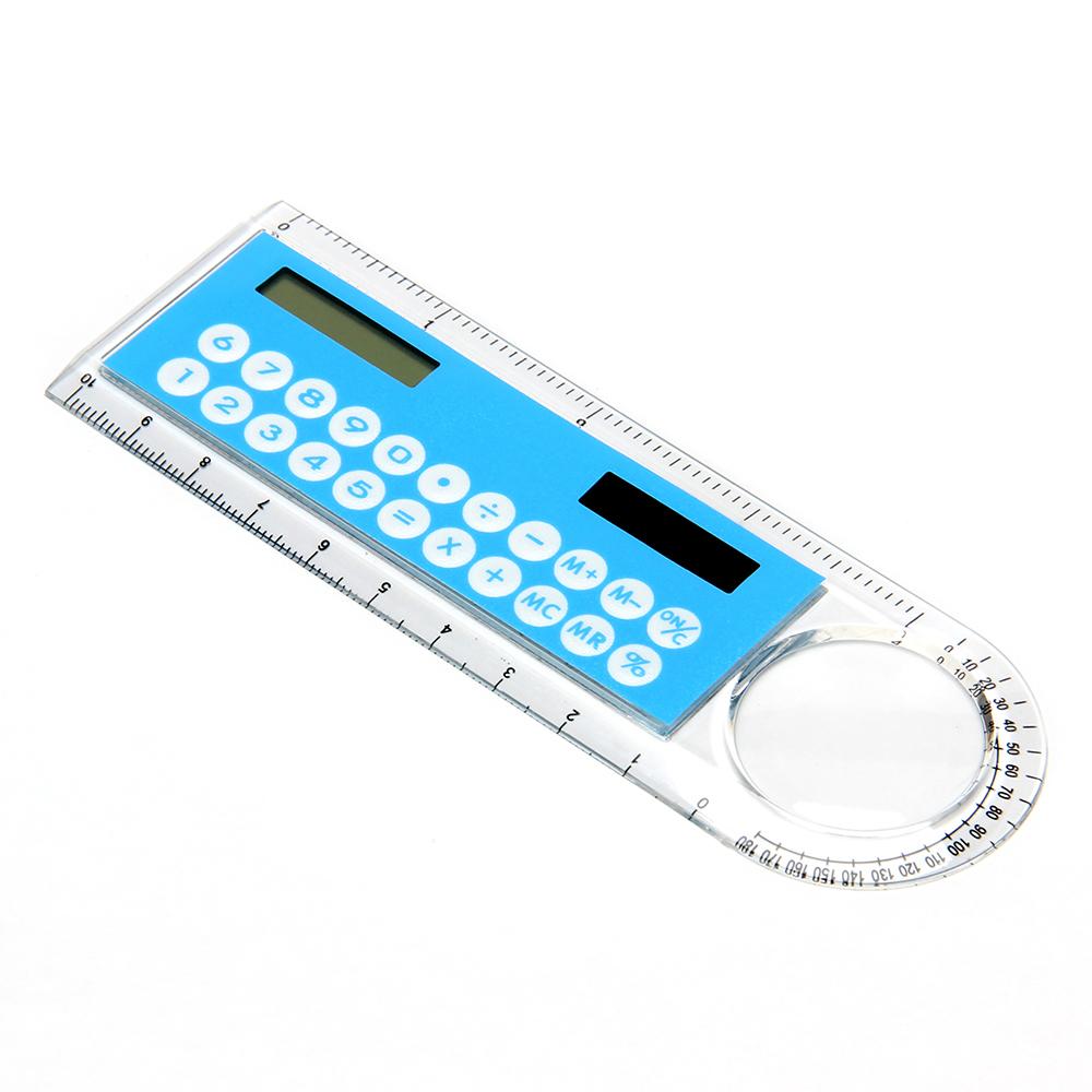 Калькулятор-линейка 8 разр с лупой и транспортиром солн.питание