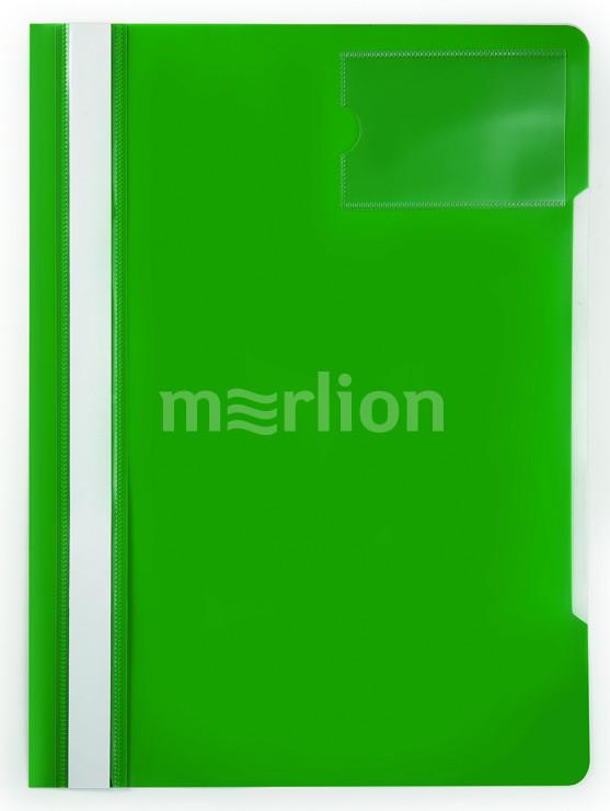 Папка-скоросшиватель верх прозрачный карман для визиток зеленый