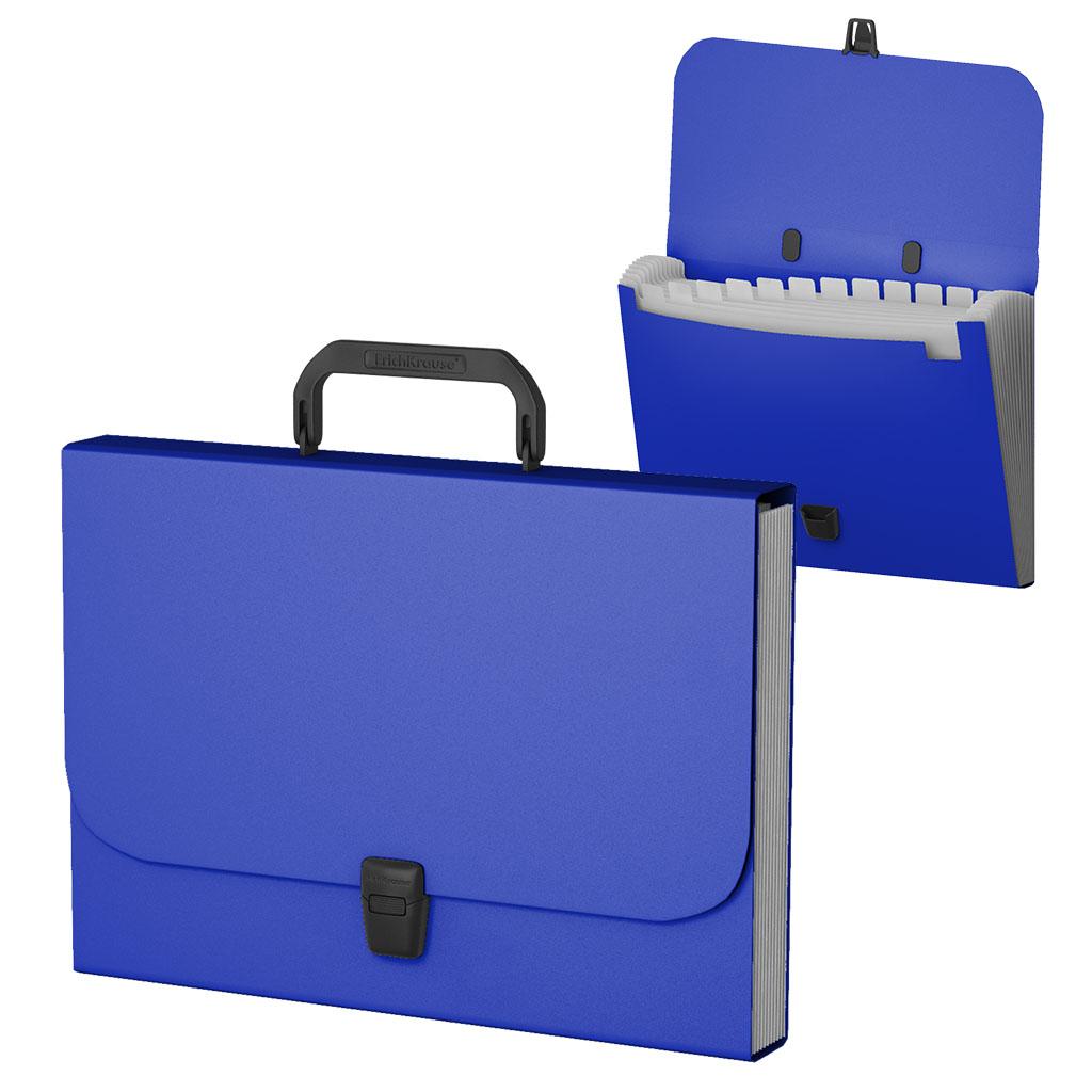 Портфель с ручкой 12отд EK пластиковый синий