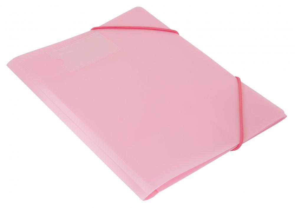 Папка на резинках А4 30мм Gems розовая 0.5мм + карман д/визиток
