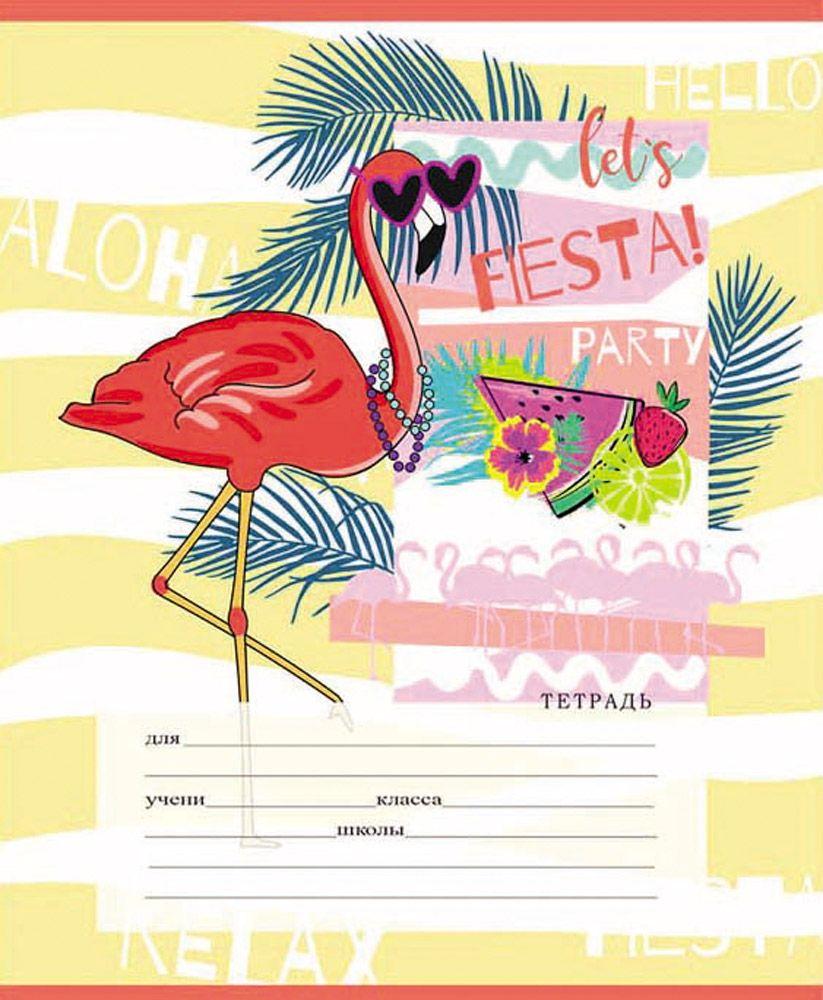 Тетрадь 12л линейка косая Фламинго и цветные волны