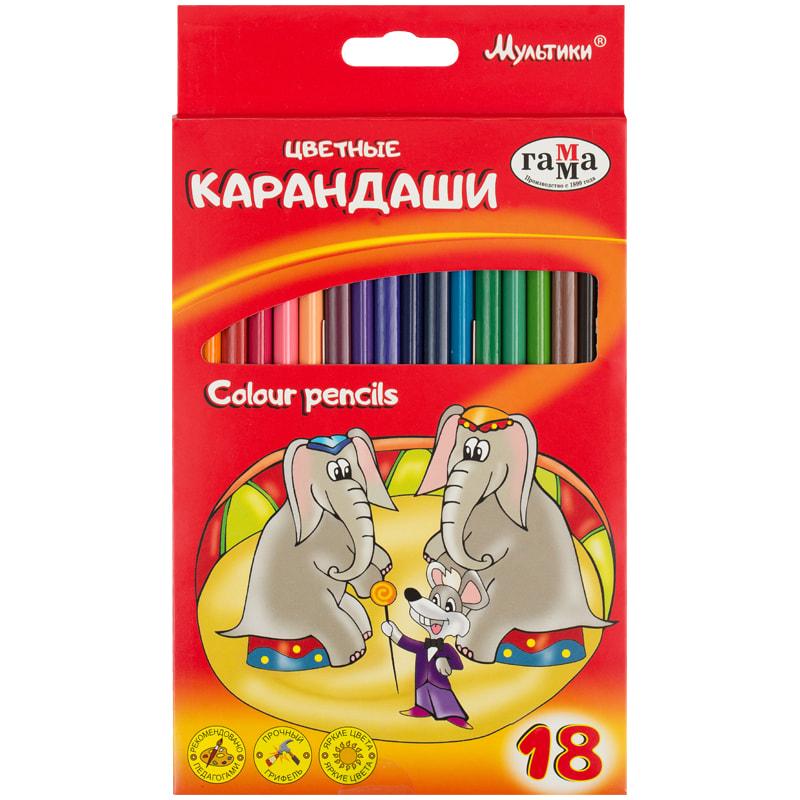 Карандаши цветные 18 цв Мультики