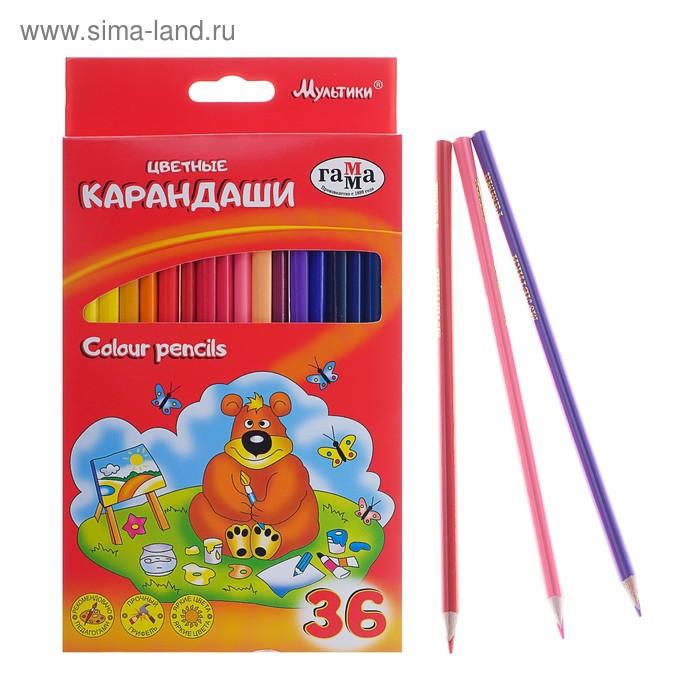 Карандаши цветные 36 цв Мультики