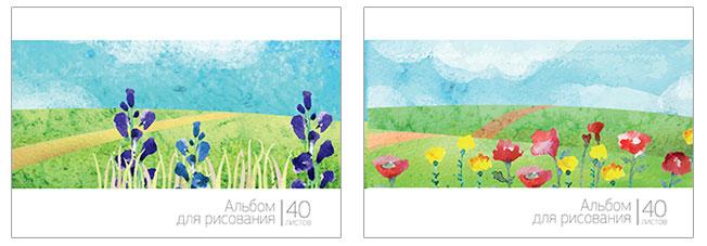 Альбом д/рис 40л спир Пейзаж:цветочное поле