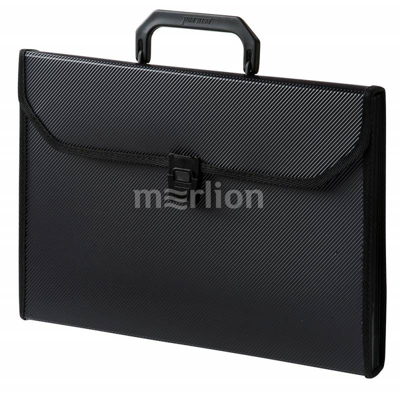 Портфель с ручкой 6отд Бюрократ пластик 0,7мм с окантовкой черный