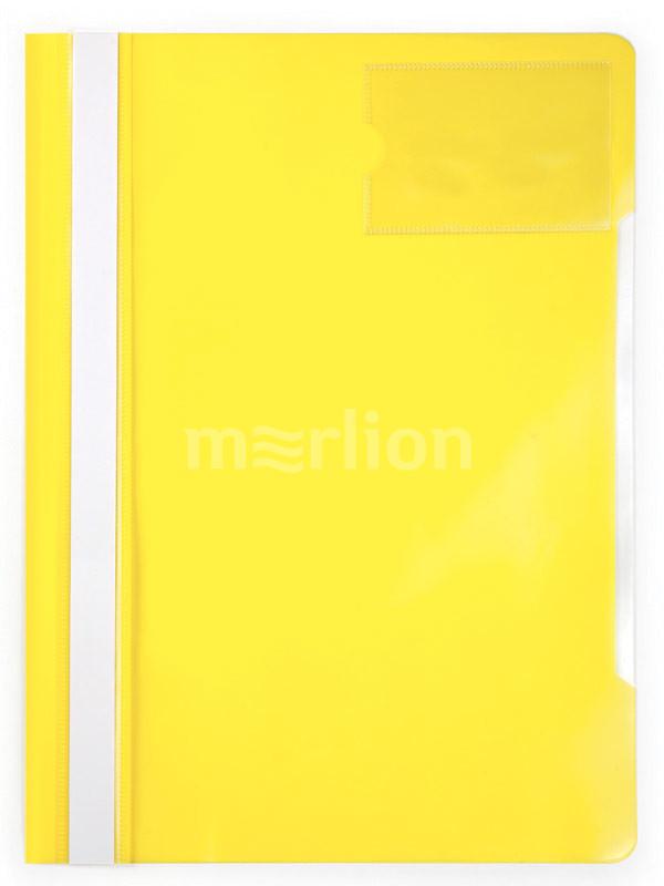 Папка-скоросшиватель верх прозрачный карман для визиток желтый