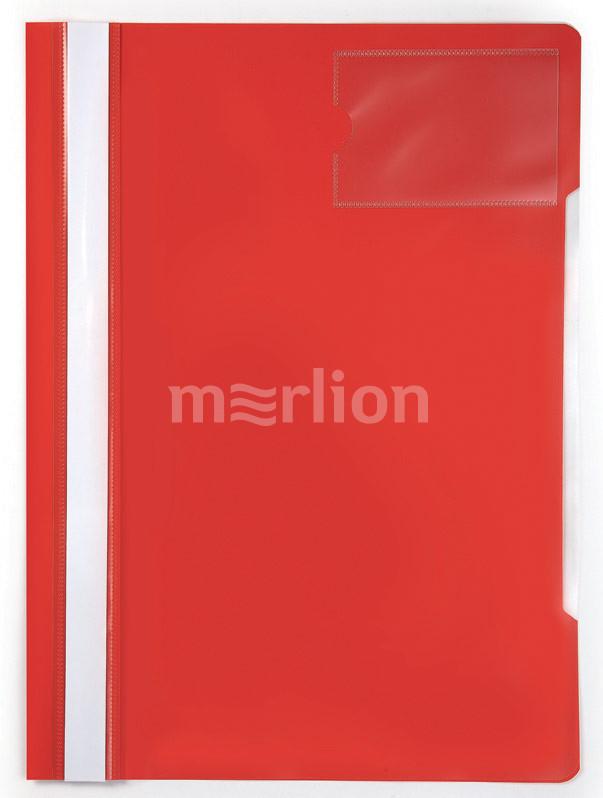 Папка-скоросшиватель верх прозрачный карман для визиток красный