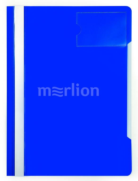 Папка-скоросшиватель верх прозрачный карман для визиток синий