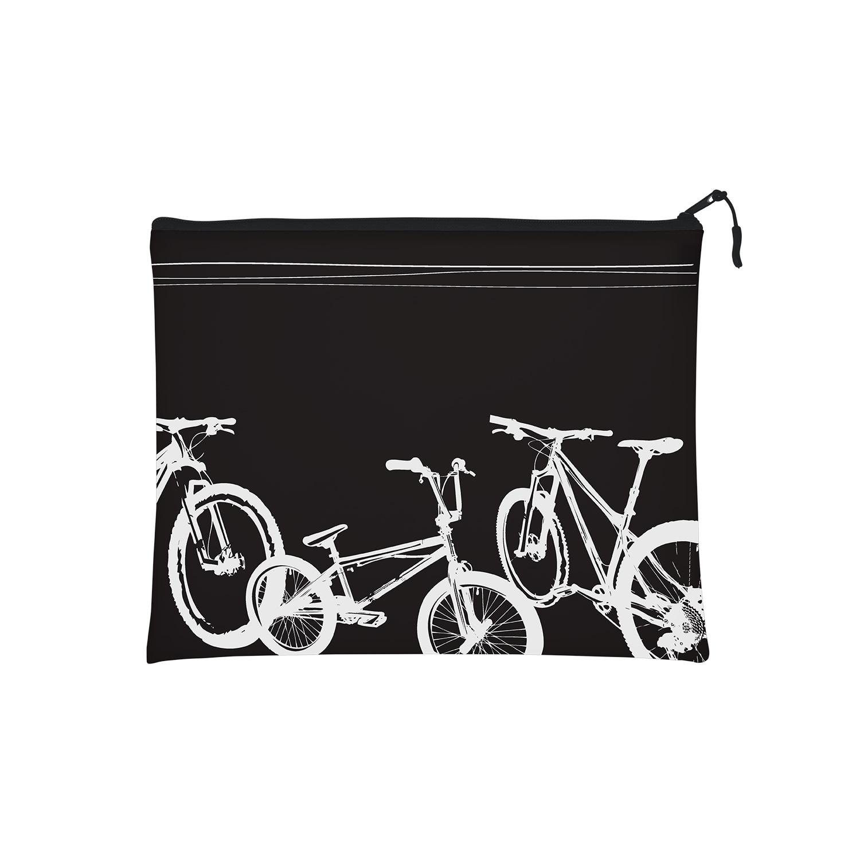 Папка на молнии А4 Bruno Visconti Велосипеды черная силикон с ручкой-п