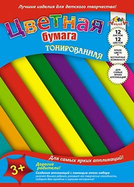 Цв. бумага А4 12л 12цв тонир Цветные полоски двуст папка