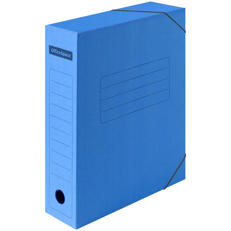 Папка архивная 75мм на резинках микрогофрокартон синяя