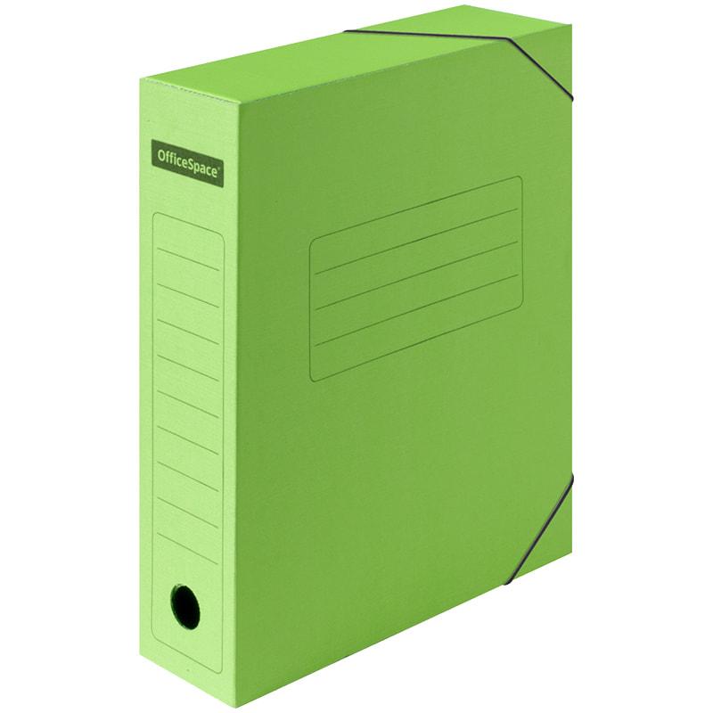 Папка архивная 75мм на резинках зеленая микрогофрокартон (короб)