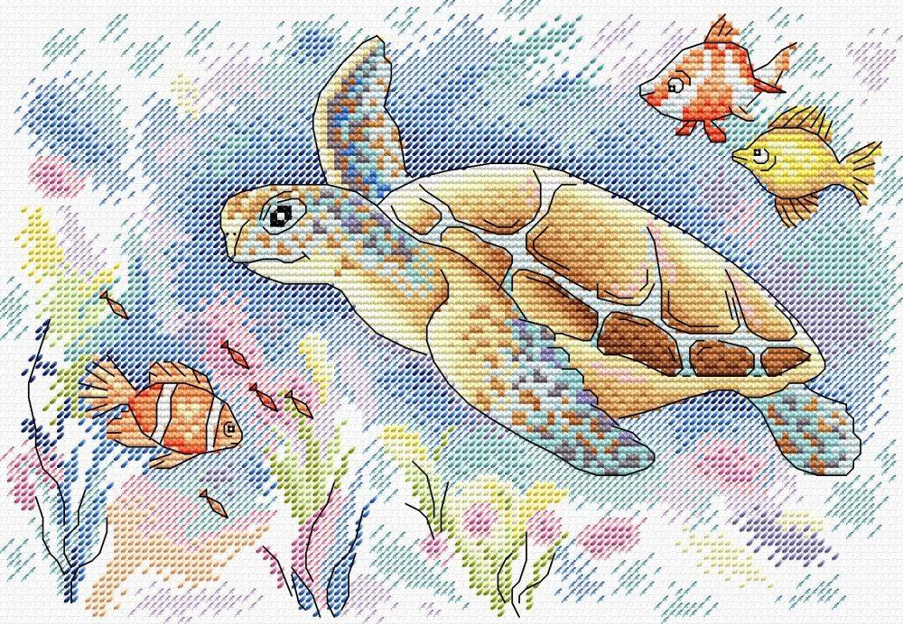 Творч Вышивка крестом 16х23 Краски океана