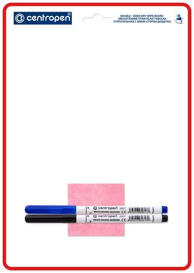 Доска маркерная А4 двуст с 2 маркерами + тряпочка