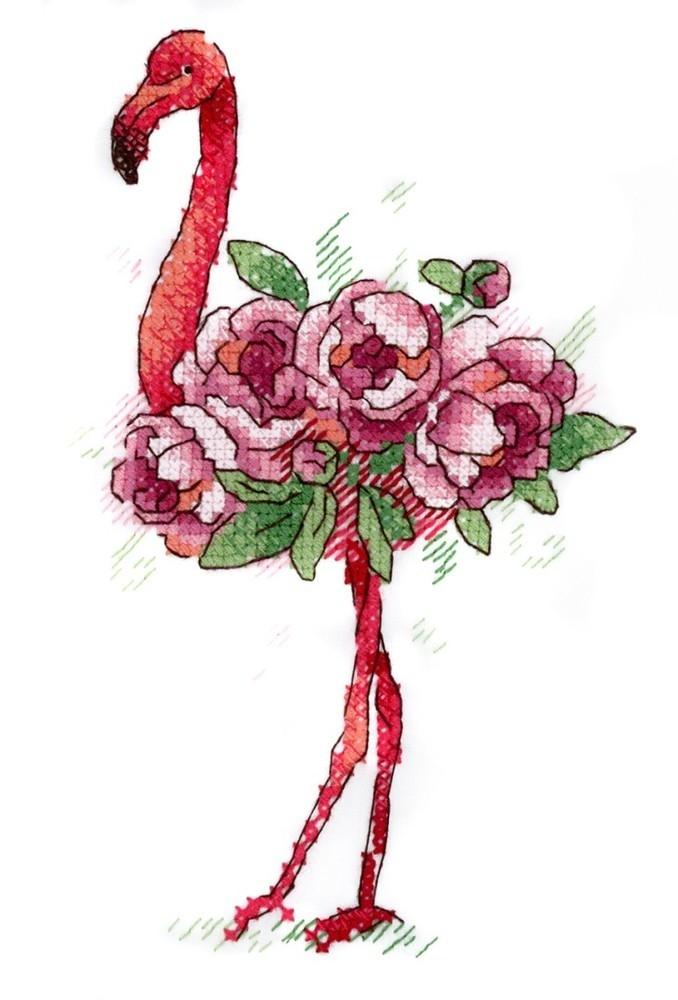 Вышивка крестом на одежде 15х9 Фламинго