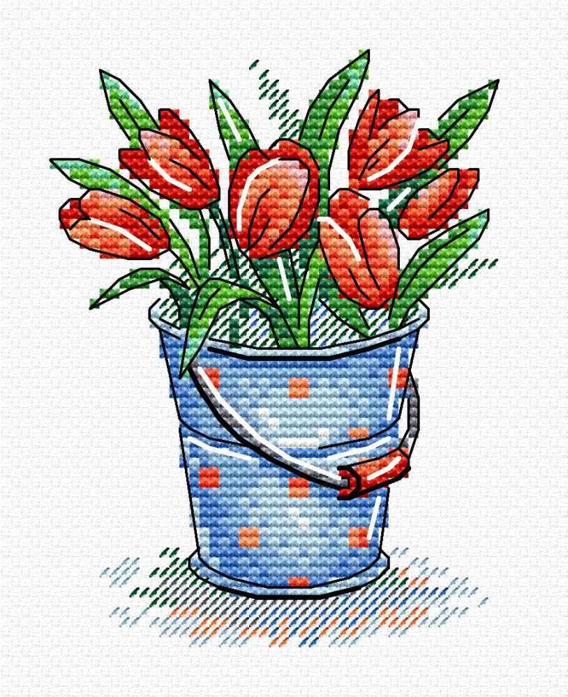 Вышивка крестом 11х8 Свежесть тюльпанов