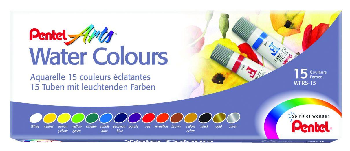 Краски 15цв Pentel Water Colours в тубах 5мл