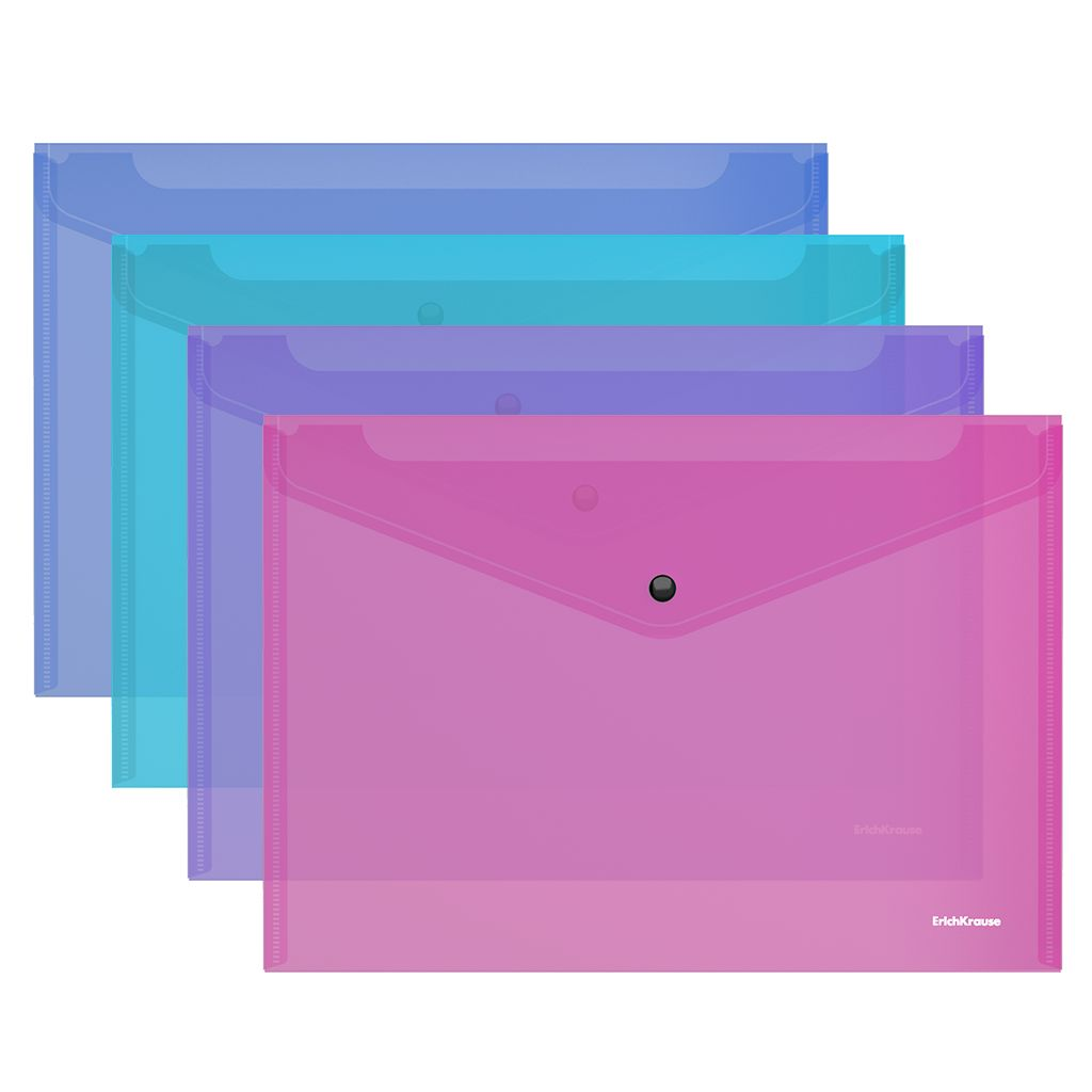 Папка-конверт А4 EK на кнопке ассорти полупрозрачная