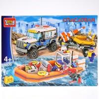 Конструктор Спасательный джип с лодкой с фигурками 375дет.