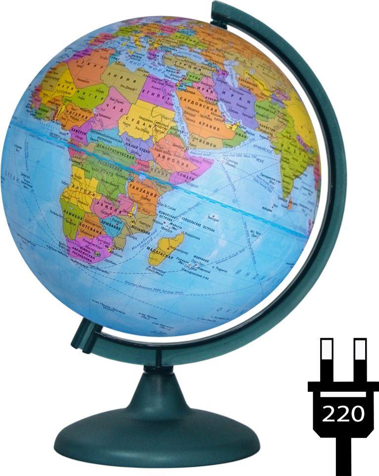 Глобус d-25 политический с подсветкой М 1:50 000 000 (на батарейках)