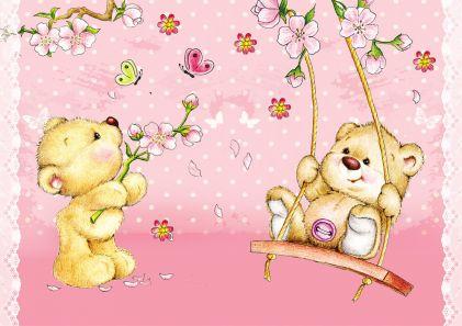 Коврик настольный А3 Мишки и весна
