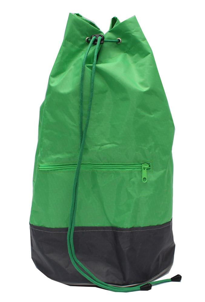 Сумка-мешок с круглым дном Зелено-серая с ремнем