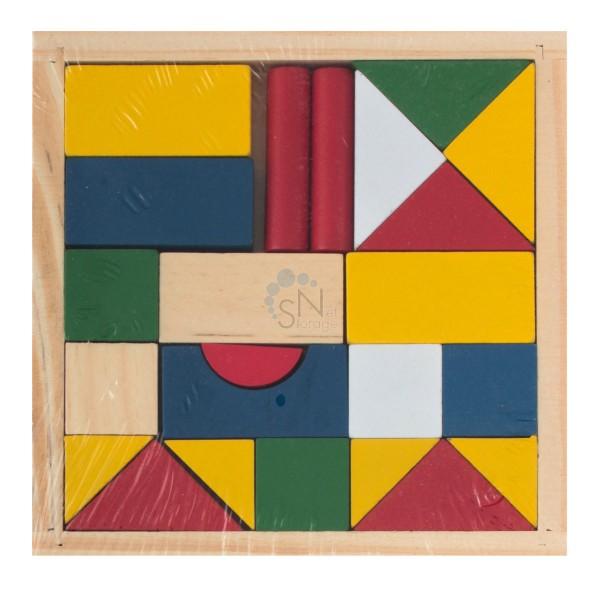 Конструктор Цветные фигуры 23 блока дерево