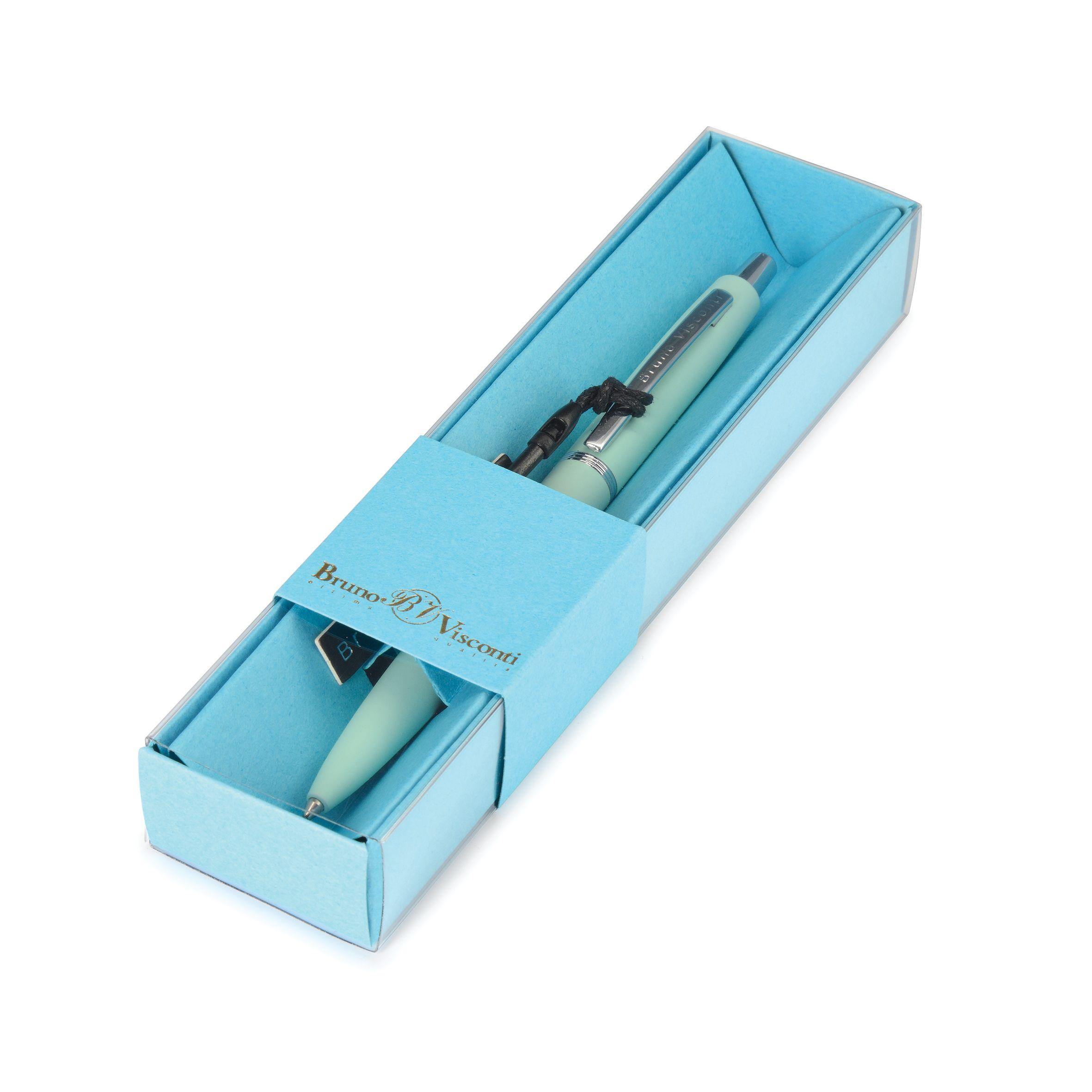Ручка подар. BV синяя 1мм San Remo авт мятный корпус