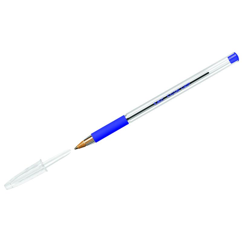 Ручка шариковая синяя Bic 1мм грип прозрач. корпус