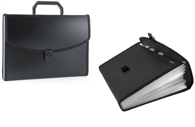 Портфель с ручкой 12отд Classic пластик черный