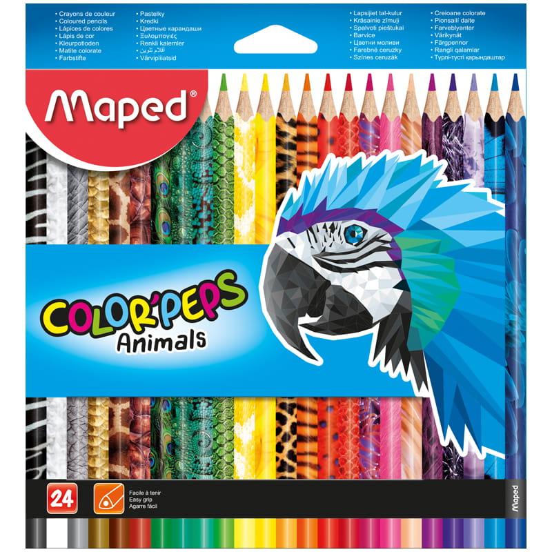 Карандаши цветные 24 цв Maped Color Peps Animals с декором трехгран. к