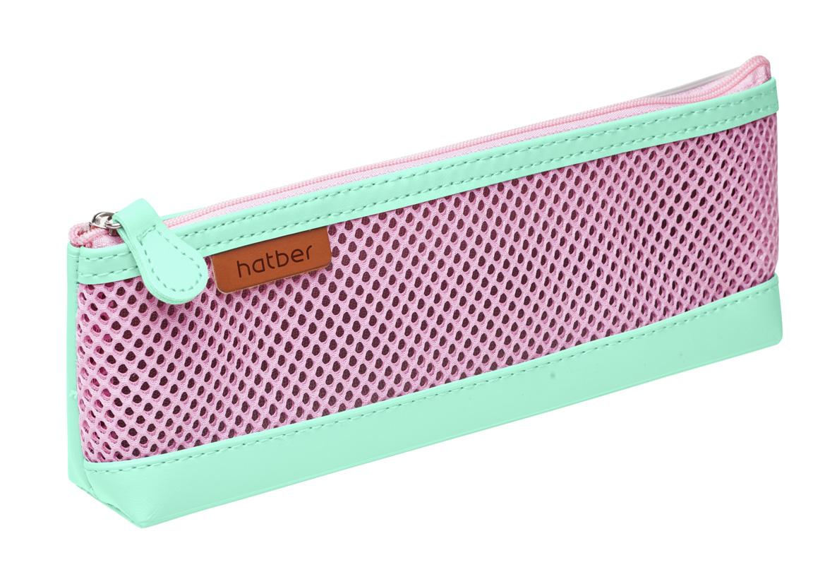 Пенал-косметичка Hatber Розовый/мятный экокожа
