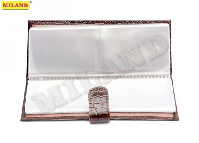 Визитница Miland 18л 72 карты шоколадный кроко мелкий кожа