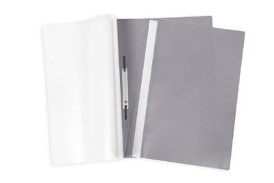 Папка-скоросшиватель А4 Hatber пластиковый верх прозрачный Серая