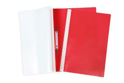 Папка-скоросшиватель А4 Hatber пластиковый верх прозрачный Красная
