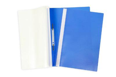 Папка-скоросшиватель А4 Hatber пластиковый верх прозрачный Синяя