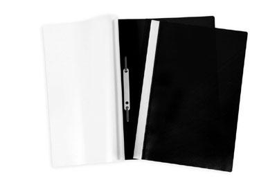 Папка-скоросшиватель А4 Hatber пластиковый верх прозрачный Черная