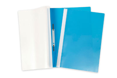 Папка-скоросшиватель А4 Hatber пластиковый верх прозрачный Голубая