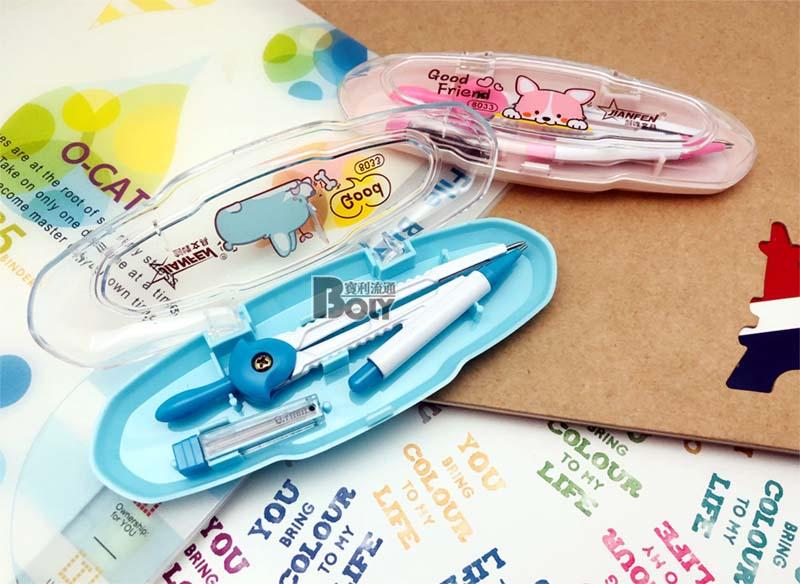 Готовальня 1пр Compass Девочка и мальчик в прозр пластик пенале