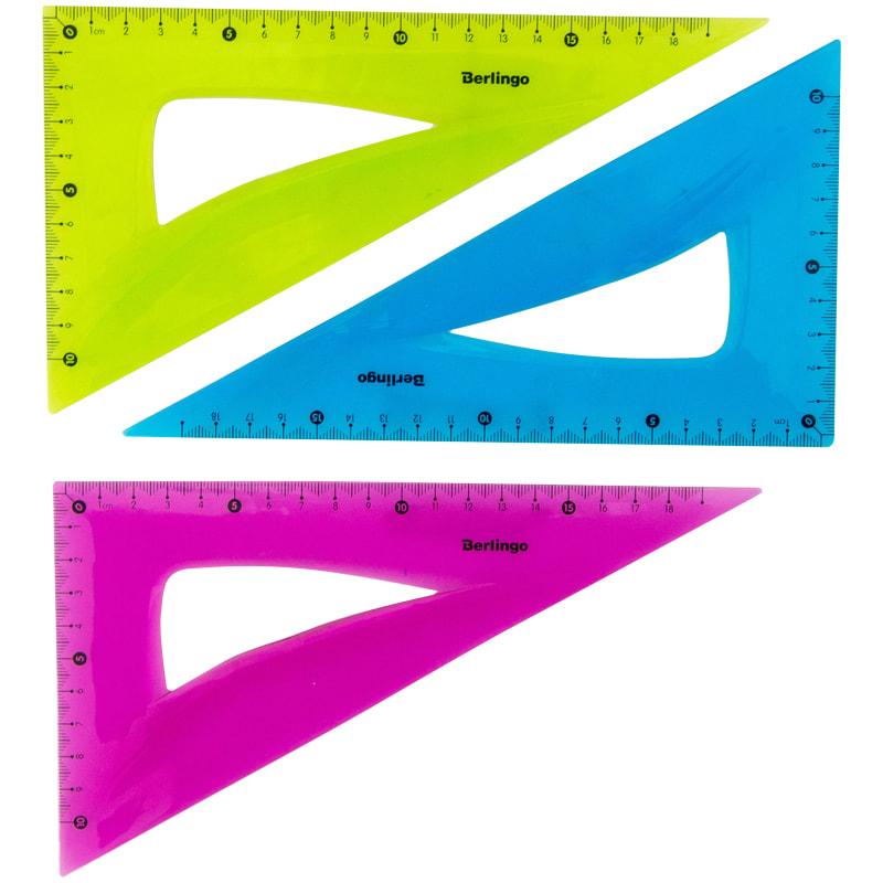 Треугольник пластиковый 30гр 180мм Flexy гибкий ассорти