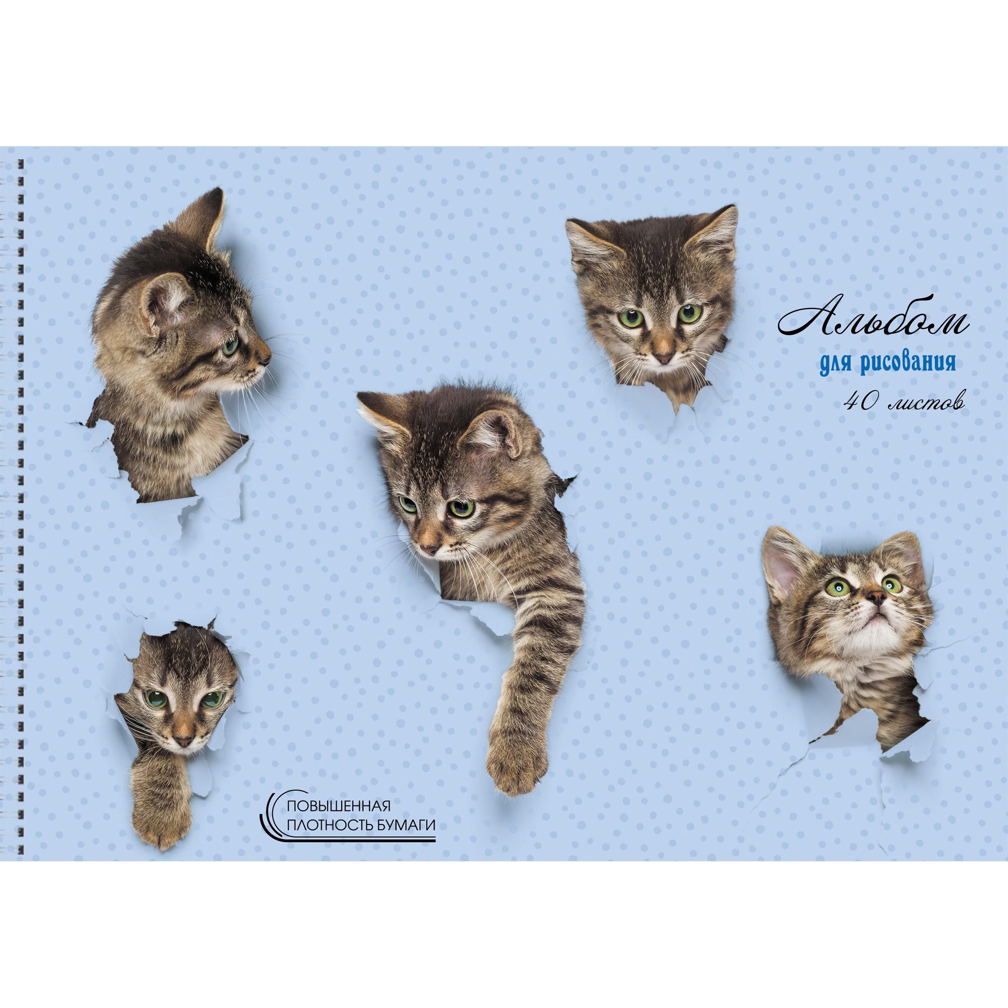 Альбом д/рис 40л спир Милые котята 140г/м2