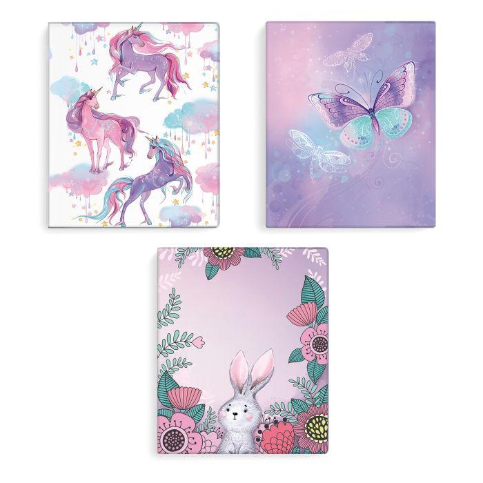 Обложка А5 для тетрадей Единороги Бабочки Кролики голография