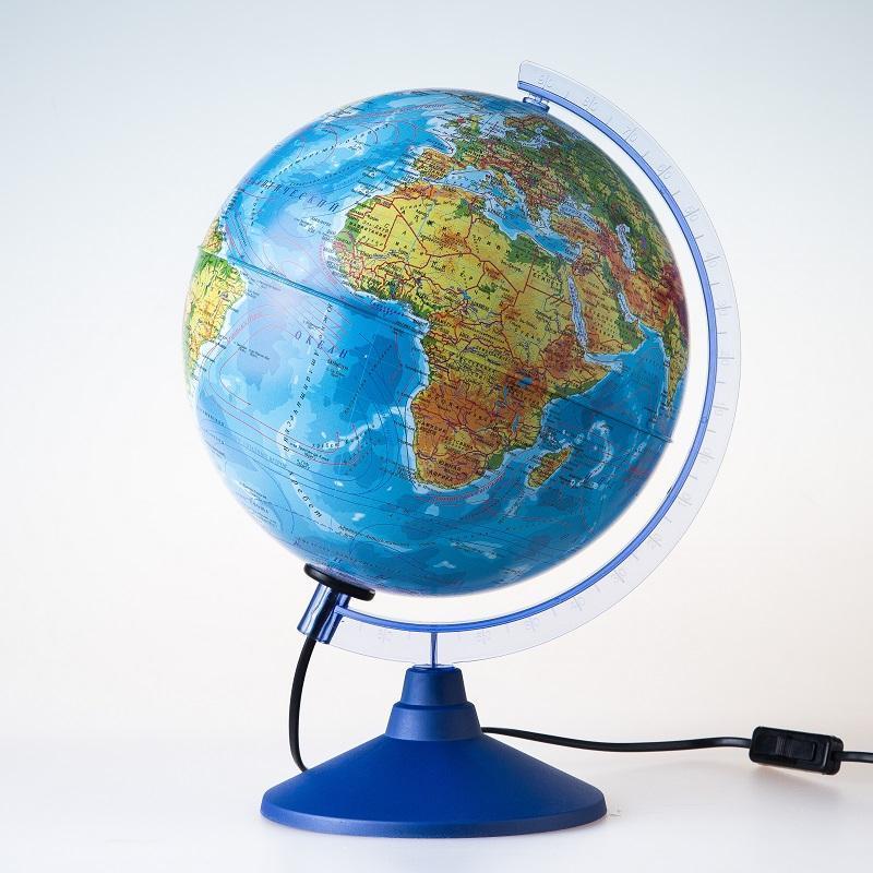 Глобус d-25 физ. и пол. карта М 1:40000000 с подсветкой круглая голуба
