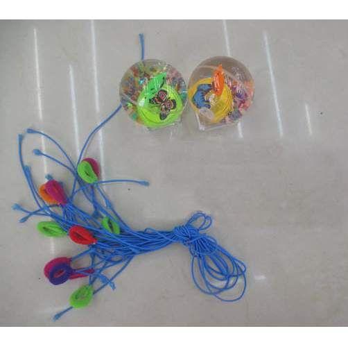 Мячи Прыгуны Йо-йо прозр.с вод.блёстки, бабочка, свет, 5,5см