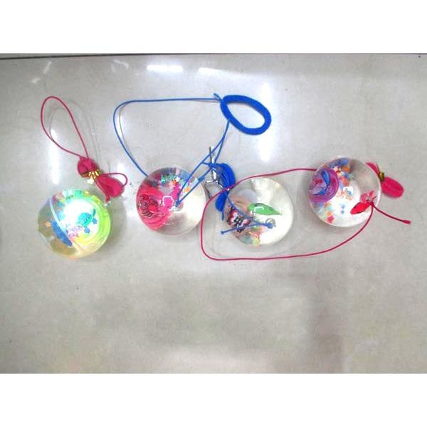 Мячи Прыгуны Йо-йо прозр.с вод.блёстки,мор.жив, свет, 5,5см