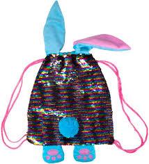 Мягконабивная Сумка-рюкзак Заяц (пайетки, меняет расцветку)