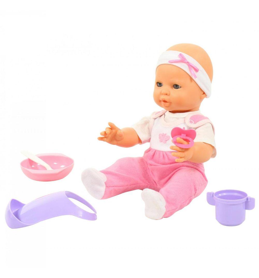 Кукла Пупс Забавный 35см с соской и набором для кормления