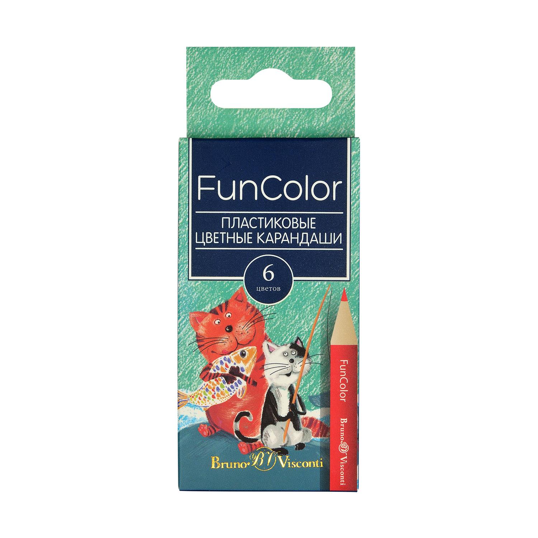 Карандаши цветные 6 цв пластик BV FunColor укорочен.