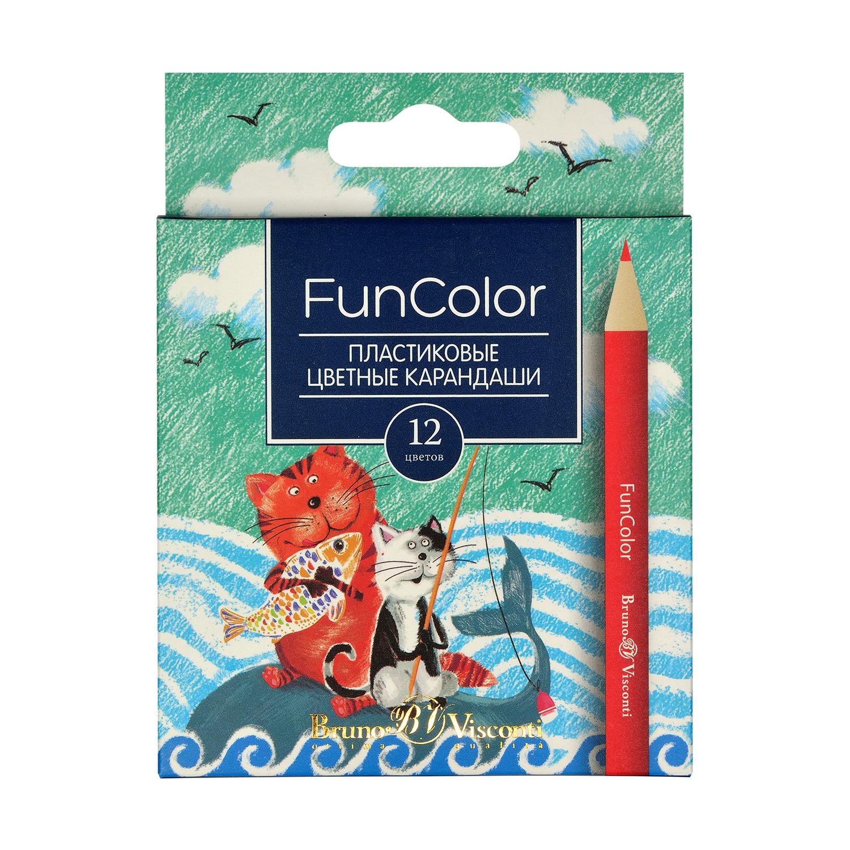 Карандаши цветные 12 цв Bruno Visconti Fun Color пластик. укороч.