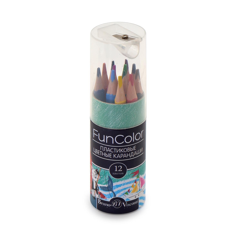 Карандаши цветные 12 цв пластик BV FunColor укороченные
